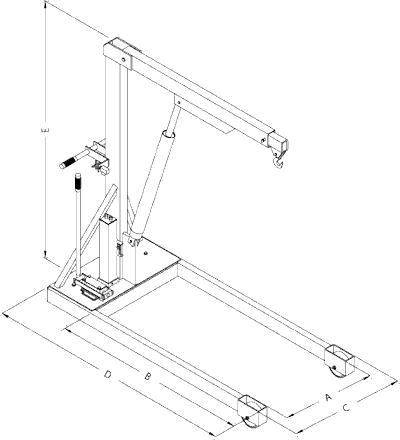 floor shop crane dimensions
