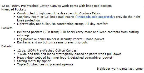 work pants for men description