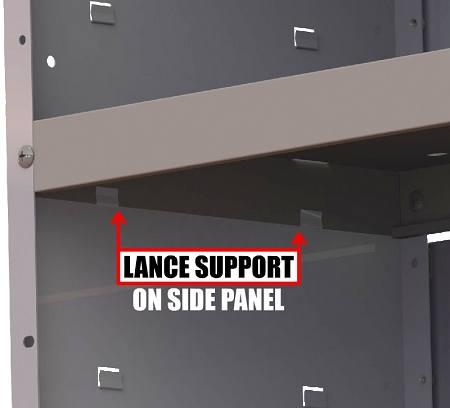 van shelving lance supports