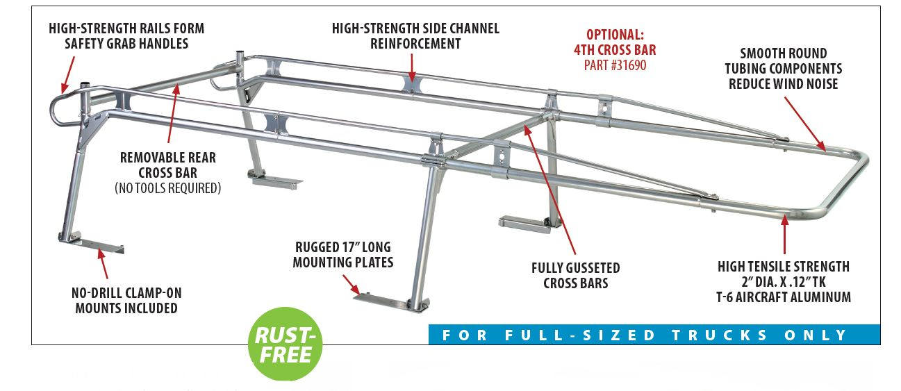 aluminum truck rack features