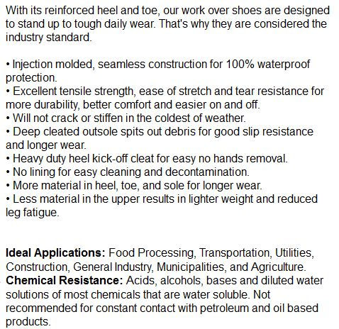 rubber overshoes specs