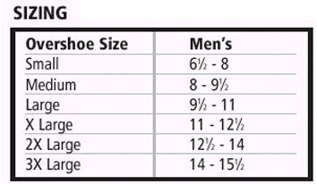 Rubber Overshoes sizing chart