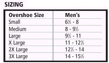 rubber over boots sizing chart