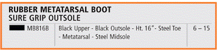 rubber metatarsal boots sizing chart