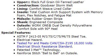 industrial metatarsal shoes specs