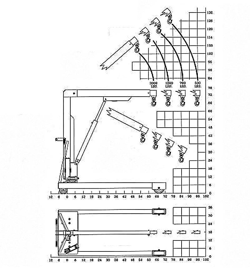 3000 lb floor shop crane load chart