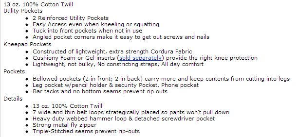 painter pants specs