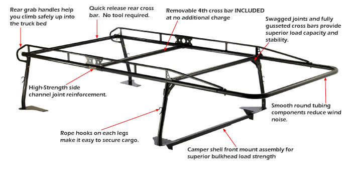 Pro Ii Truck Rack For Pickups With Caps
