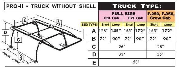 Pro II truck rack dimensions