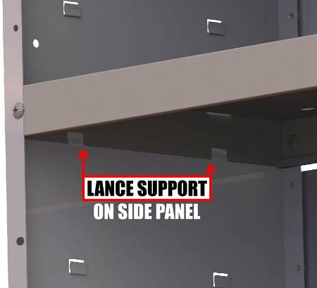 van shelving lance supports