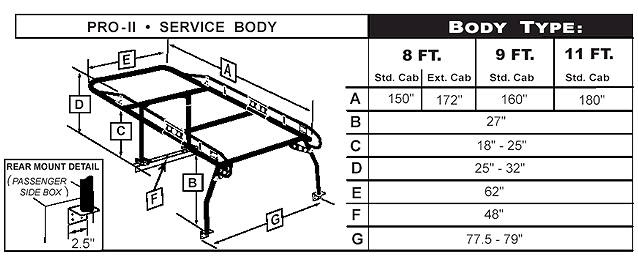 utility truck rack dimensions