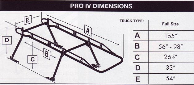aluminum truck rack dimensions
