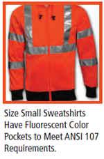 small high visibility sweatshirt