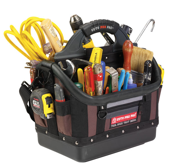 Veto Pro Pac Model OT-LC Open Top Tool Tote & Storage Bag with Tools