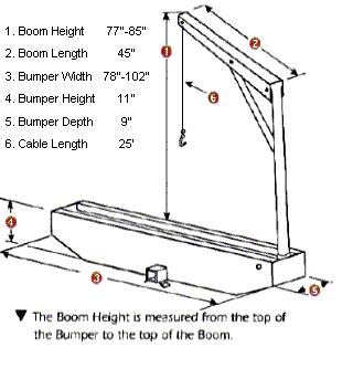 750 lb truck crane dimensions