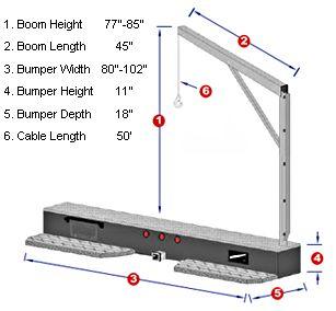 2000 lb truck crane dimensions