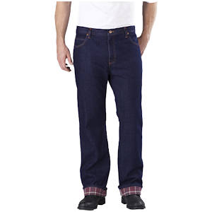 Relaxed Straight Fit Flannel Lined Jeans